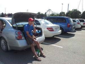 enjoying my apple at our Car in Canada's Wonderland parking lot