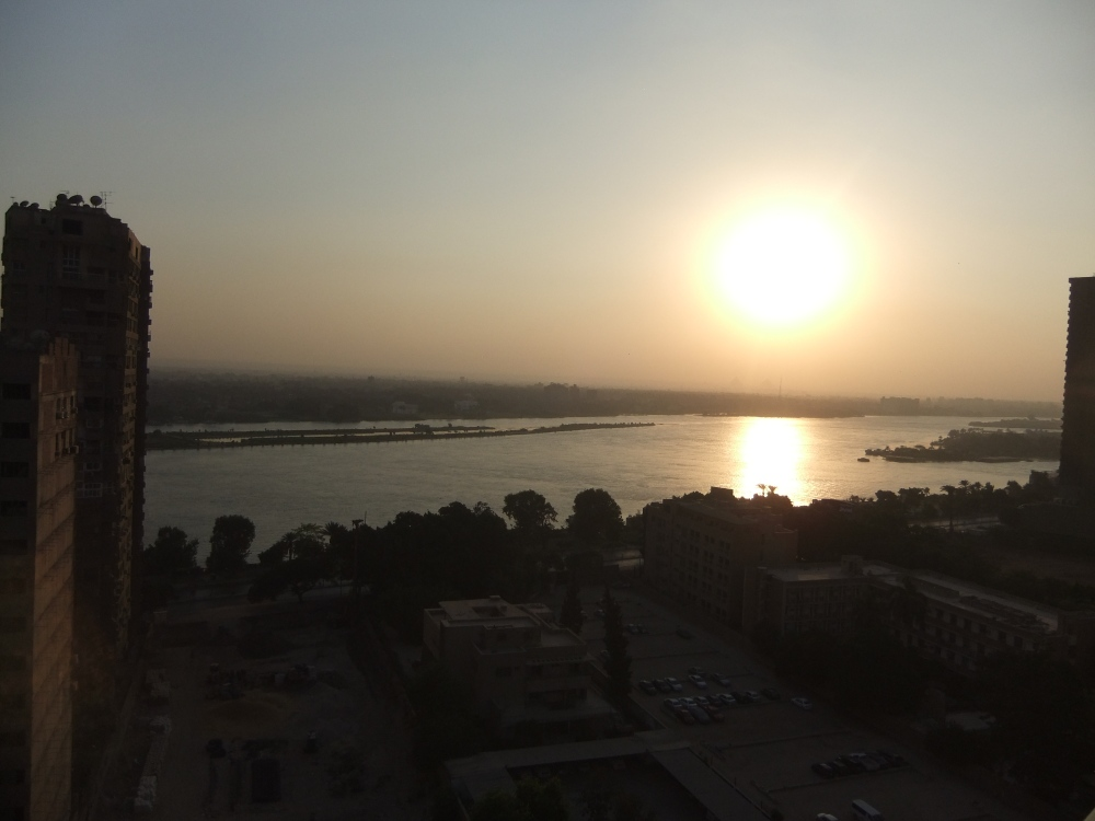 The view of the Nile & Pyramids from our hotel room