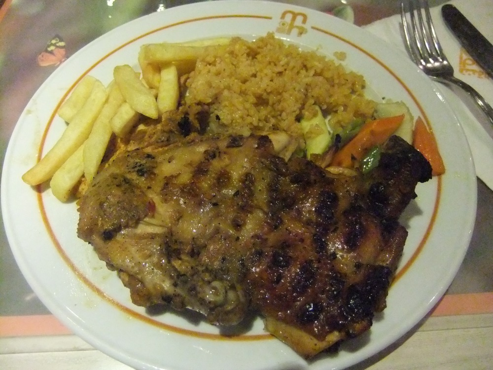 First meal in Egypt - roast chicken with rice, fries & mixed veggies