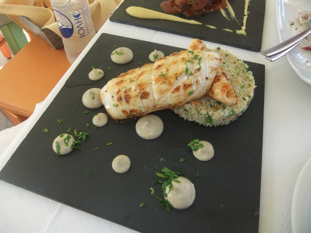 Grilled Calamari with Quinoa salad and eggplant puree
